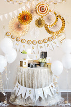 Load image into Gallery viewer, Gold Fancy Party Paper Fans