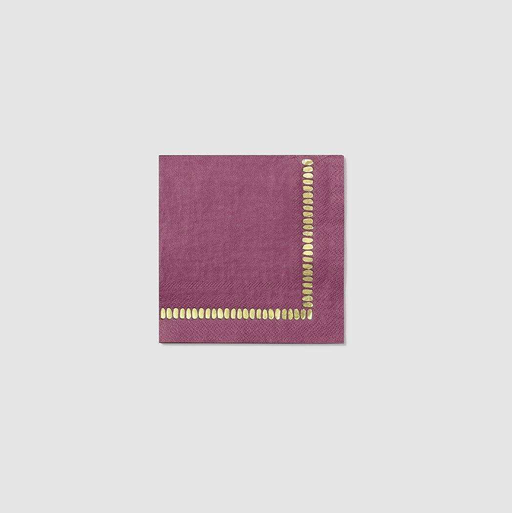 Plum Brushstroke Cocktail Napkins (25)
