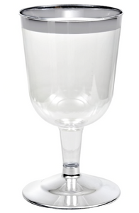 4 x Disposable Plastic Wine Glasses with Silver Rim (6oz)
