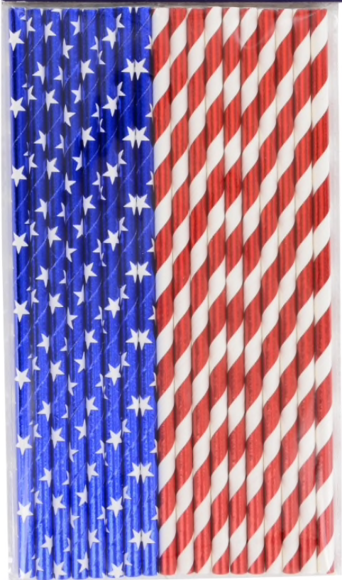 Recyclable Patriotic Paper Straws (15)