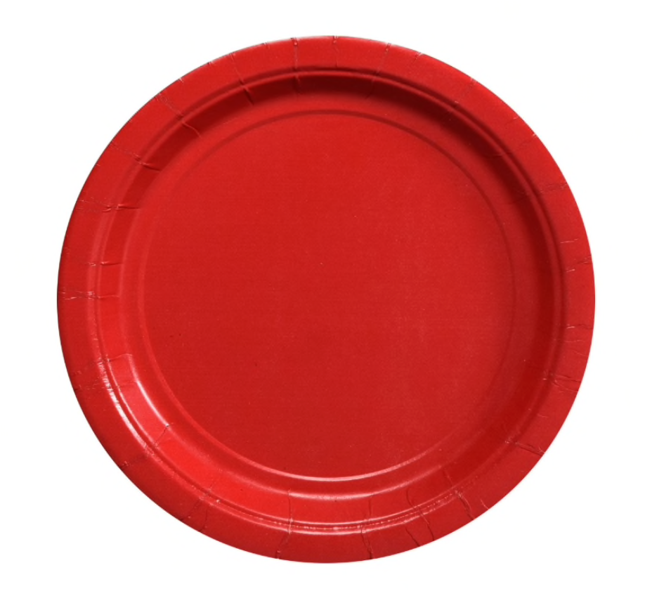 Red Paper Party Appetizer/Dessert Plates 7 inch (24)