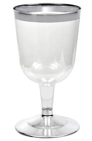 6 oz. Plastic Wine Glasses with Silver Rim (4)
