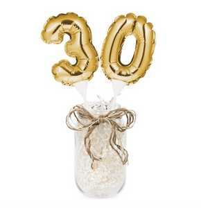 Gold Number 30 Cake Topper Balloon