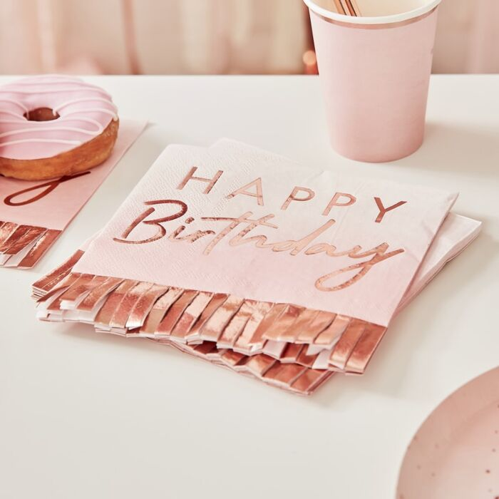 Rose Gold & Pink Fringe Happy Birthday Napkins