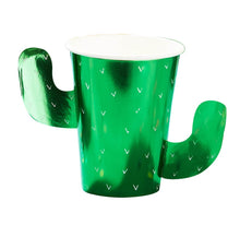 Load image into Gallery viewer, Green Foiled Cactus Paper Cups (8)