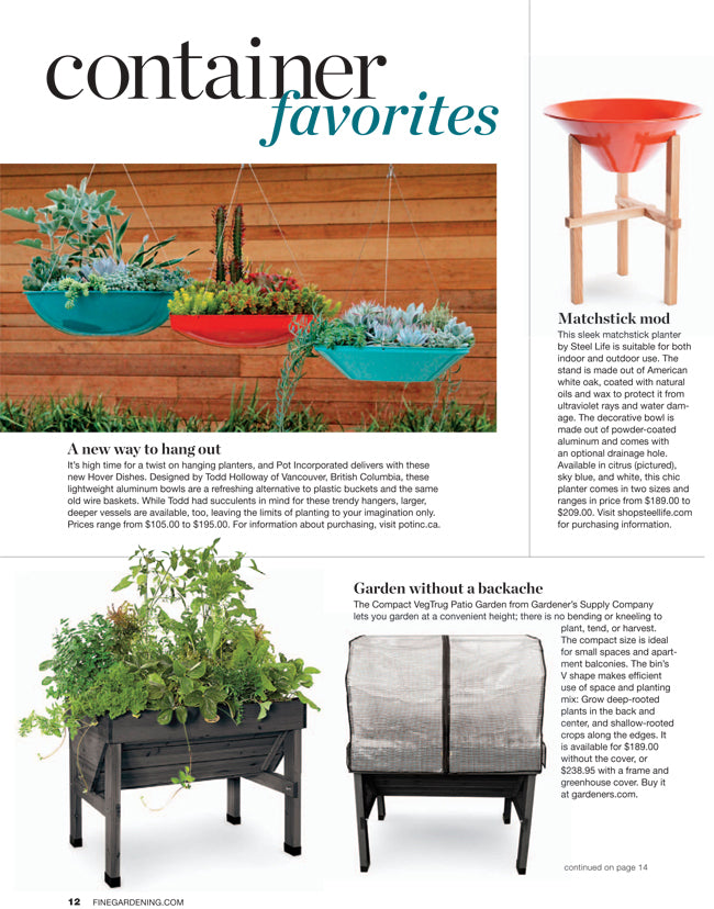 Hover dishes for summer planting