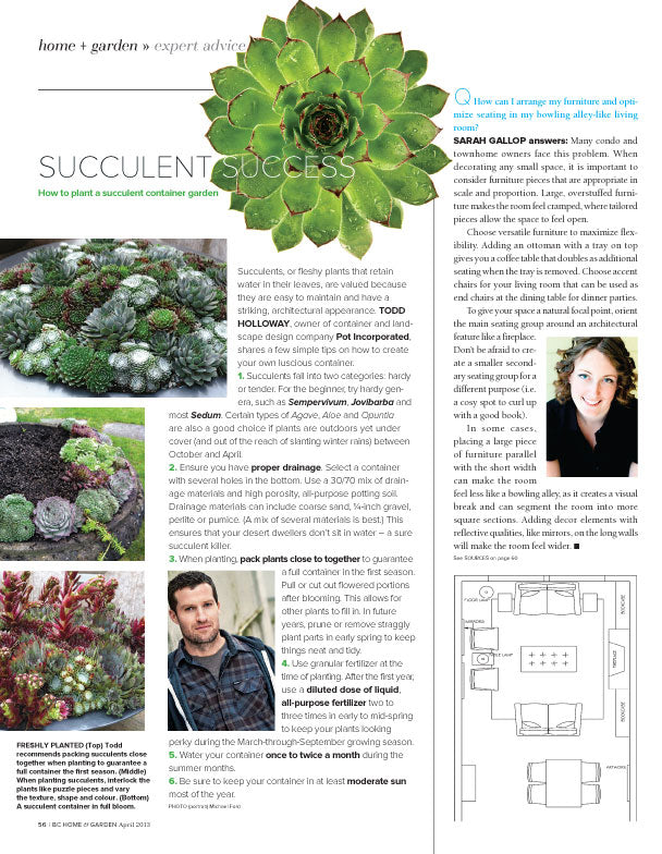 Succulent article by Pot inc in BC Home and Garden magazine