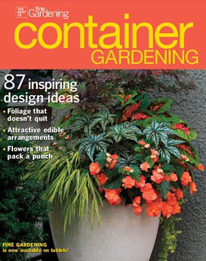Cover of container gardening magazine featuring pot inc