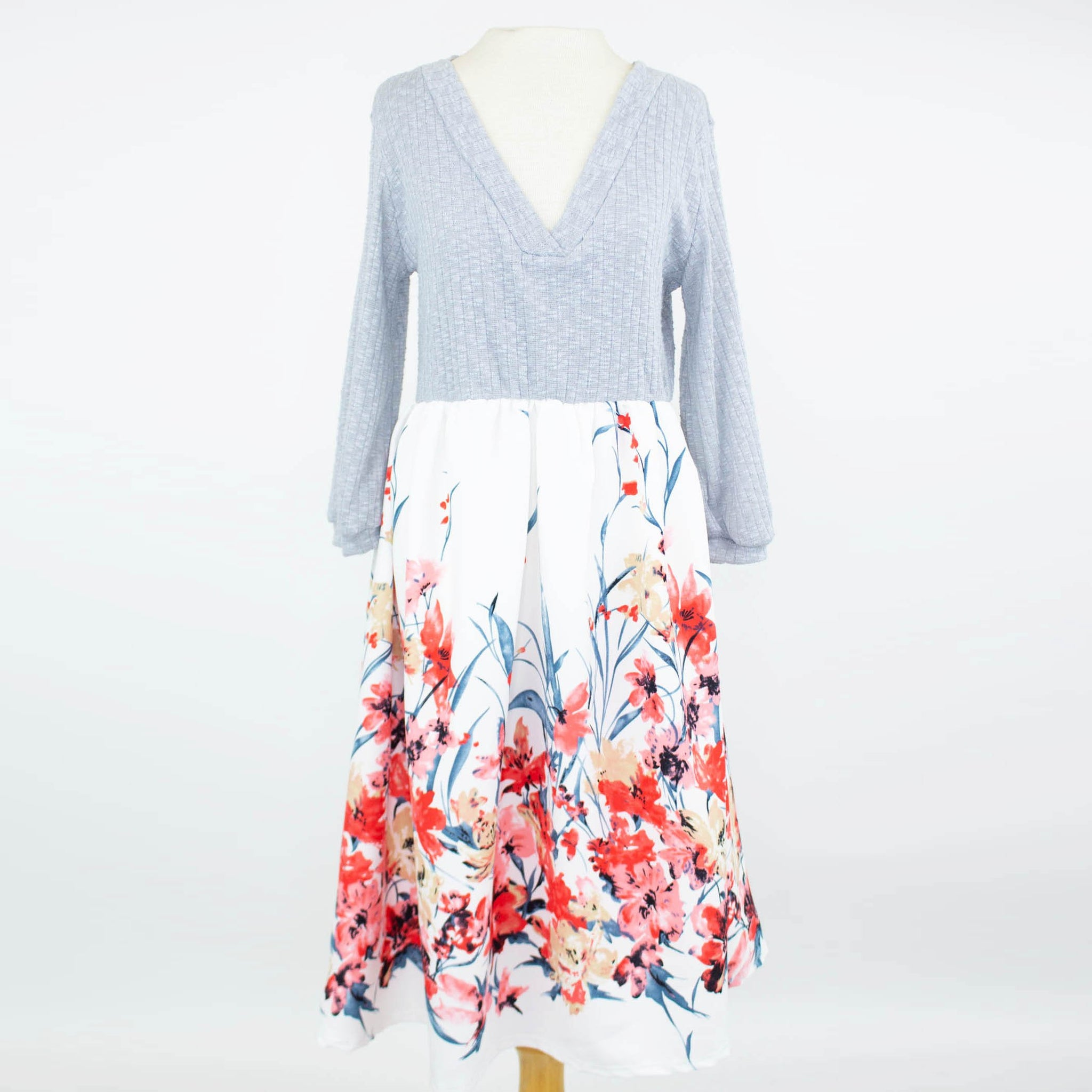Floral Flared Color Block Dress - malaygauri