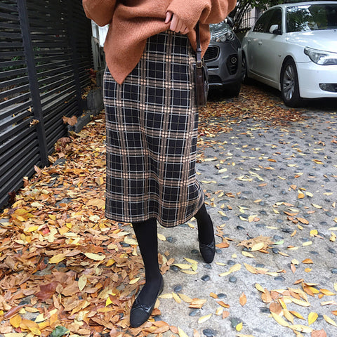 Plaid Skirts Womens Winter Vintage Saia - malaygauri