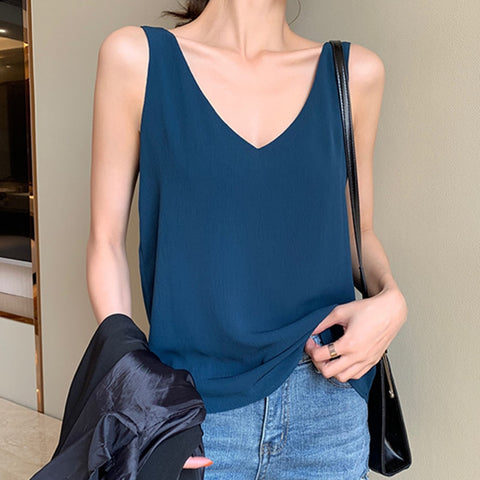 Womens Tops and Blouses Chiffon Women Blouses Sleeveless V-Neck White Women Shirts Plus Size Korean Fashion Clothing - malaygauri