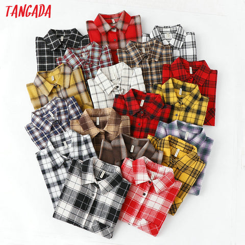 Tangada  fashion women chic oversized plaid blouse long sleeve female casual   print shirts stylish cotton tops blusas XQ01 - malaygauri