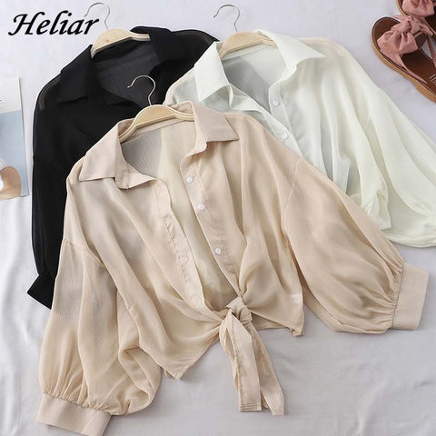 HELIAR Lantern Sleeve Chiffon Shirts Women 2020 Summer Buttoned Up Shirt Long Sleeve Blouse Tied Waist Elegant Women Blouses - malaygauri