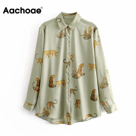 Aachoae Leopard Stylish Shirt Women Turn Down Collar Office Fashion Female Blouse Long Sleeve Plus Size Lady Tops Blusa Feminina - malaygauri