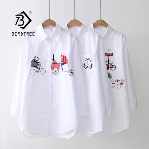2019 NEW White Shirt Casual Wear Button Up Turn Down Collar Long Sleeve Cotton Blouse Embroidery Feminina HOT Sale T8D427M - malaygauri