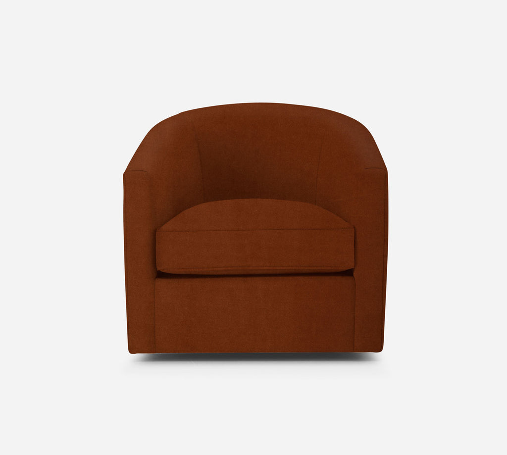 Barrel Swivel Chair - Modern Velvet - TOBACCO