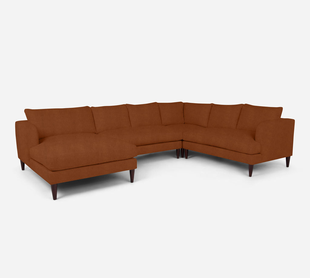 Cybil LAF Chaise Corner Sectional - Passion Suede - Rust