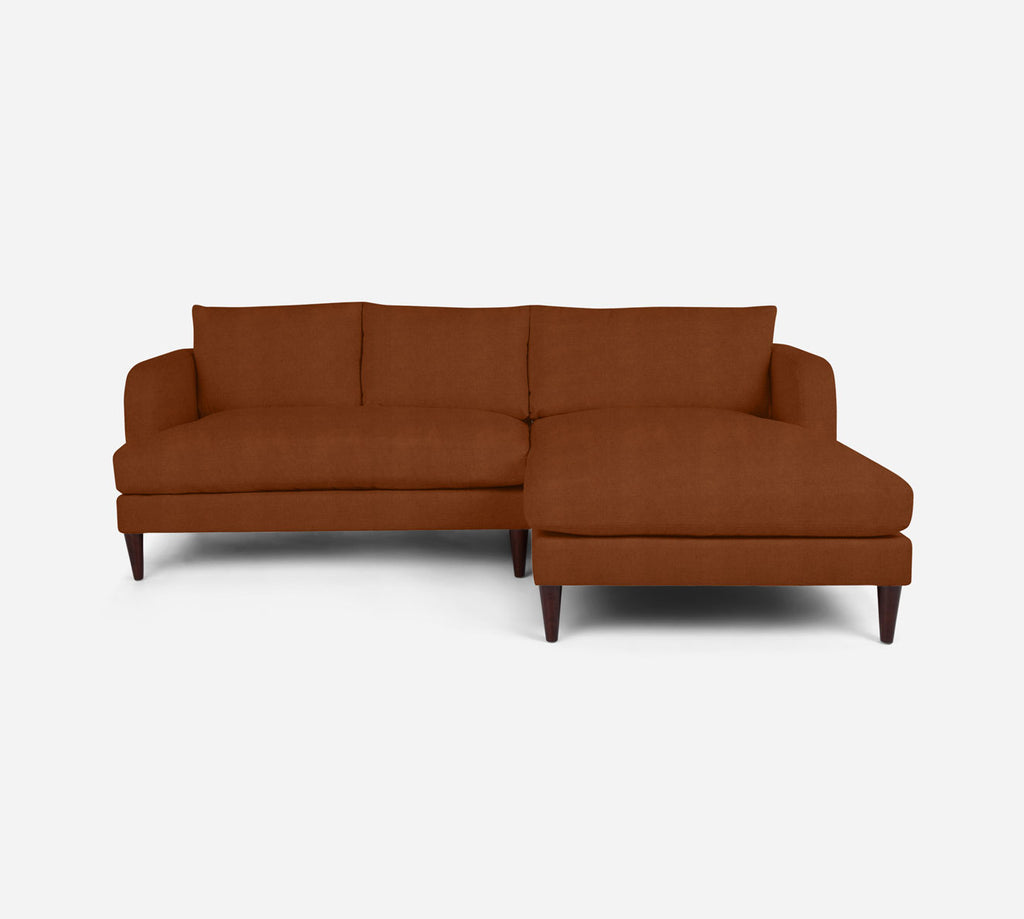 Cybil LAF Sectional Apt Sofa w/ Chaise - Passion Suede - Rust