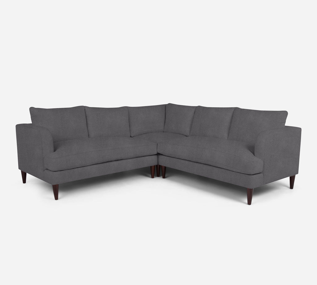 Cybil Corner Sectional - Passion Suede - Charcoal