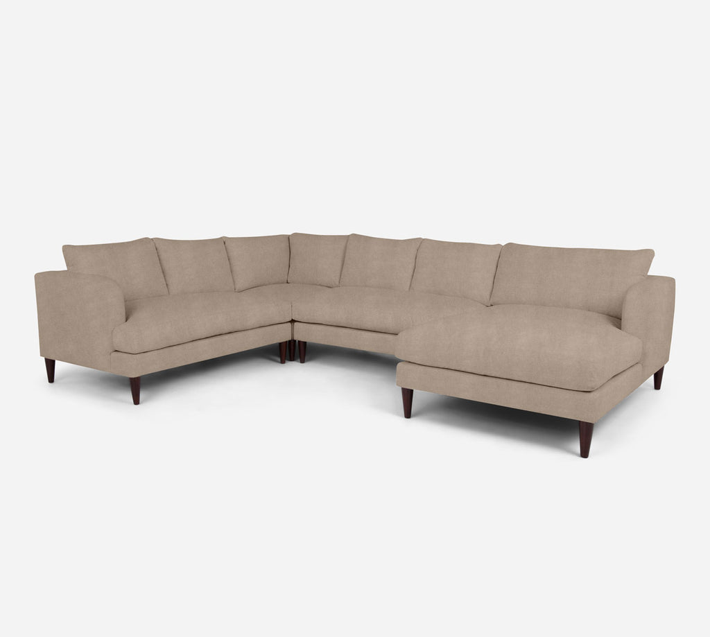 Cybil RAF Chaise Corner Sectional - Passion Suede - Camel