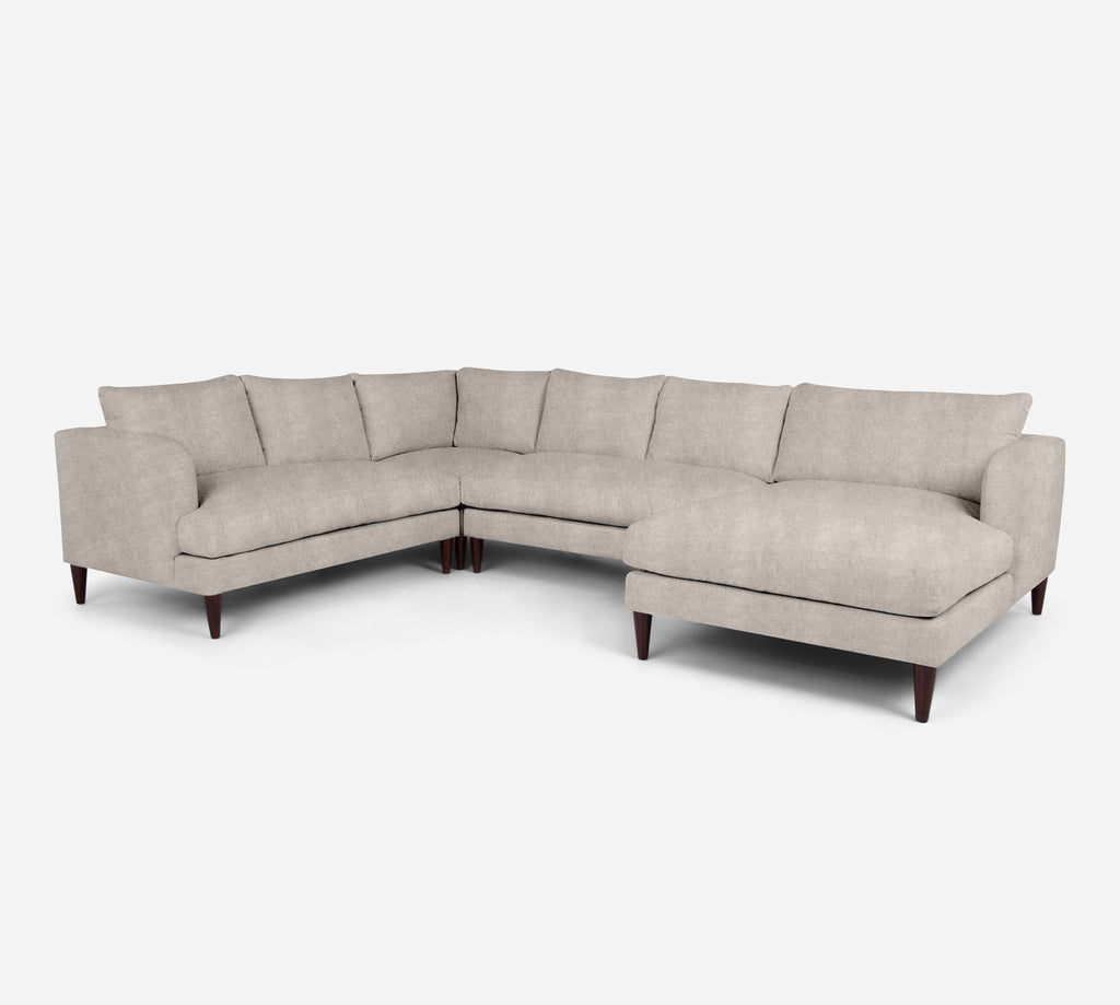 Cybil RAF Chaise Corner Sectional - Passion Suede - Oyster