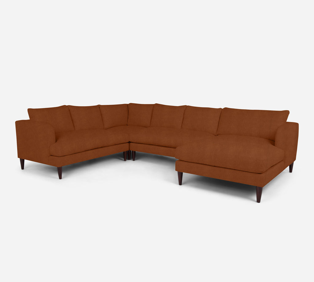 Cybil RAF Chaise Corner Sectional - Passion Suede - Rust