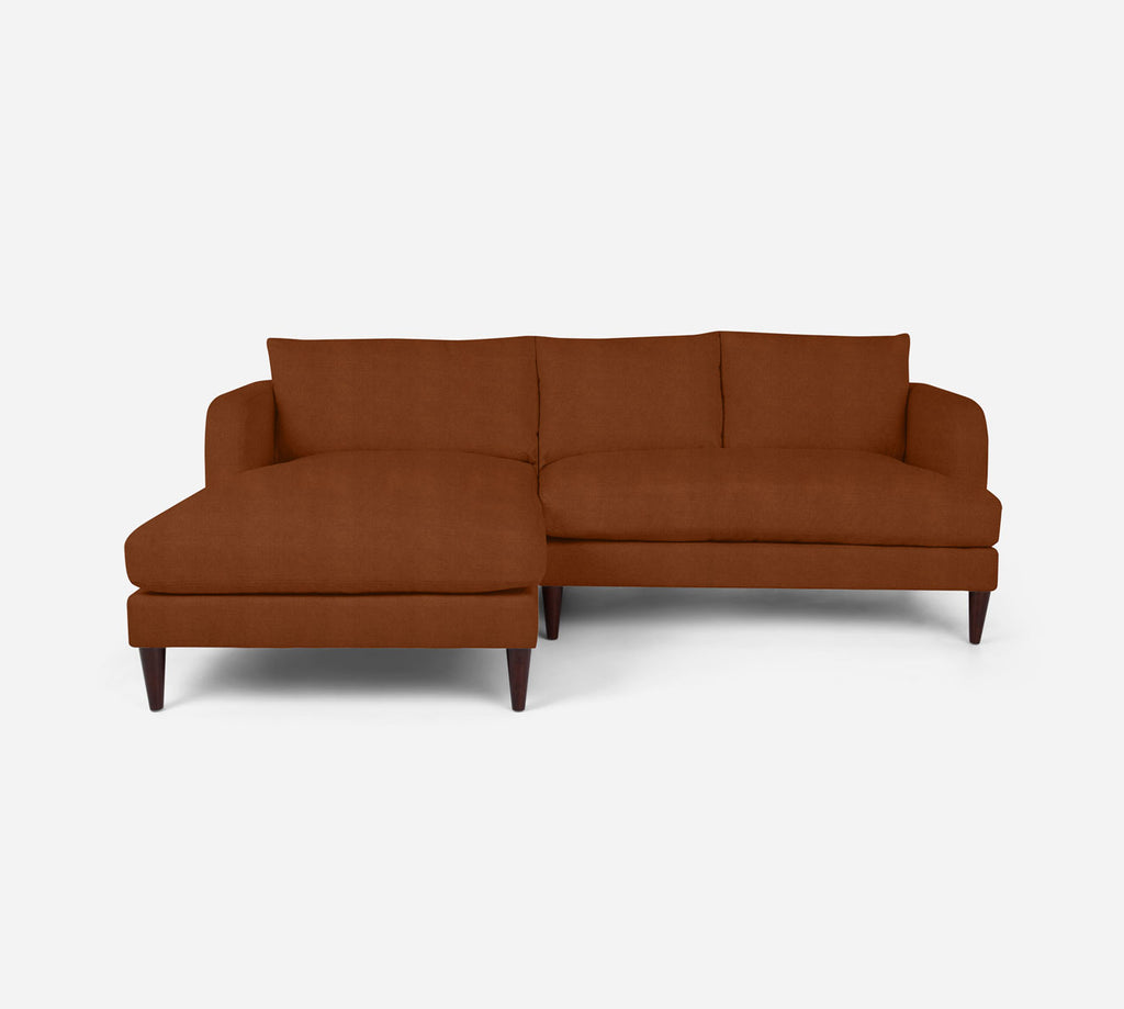 Cybil RAF Sectional Apt Sofa w/ Chaise - Passion Suede - Rust