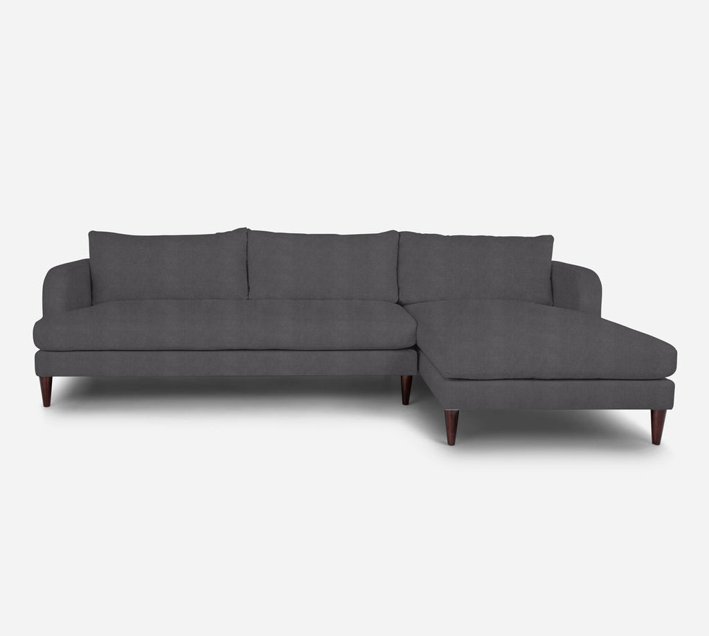 Cybil LAF Sectional Sofa w/ Chaise - Passion Suede - Charcoal