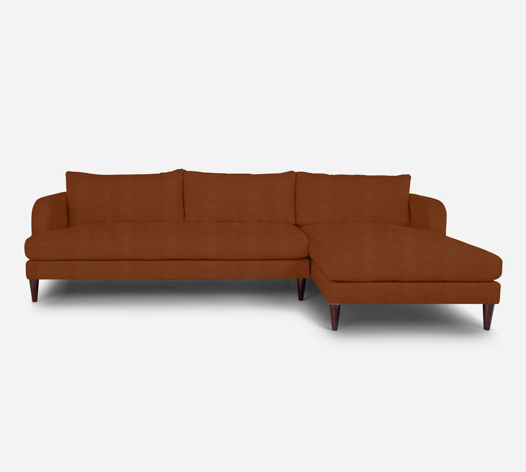 Cybil LAF Sectional Sofa w/ Chaise - Passion Suede - Rust