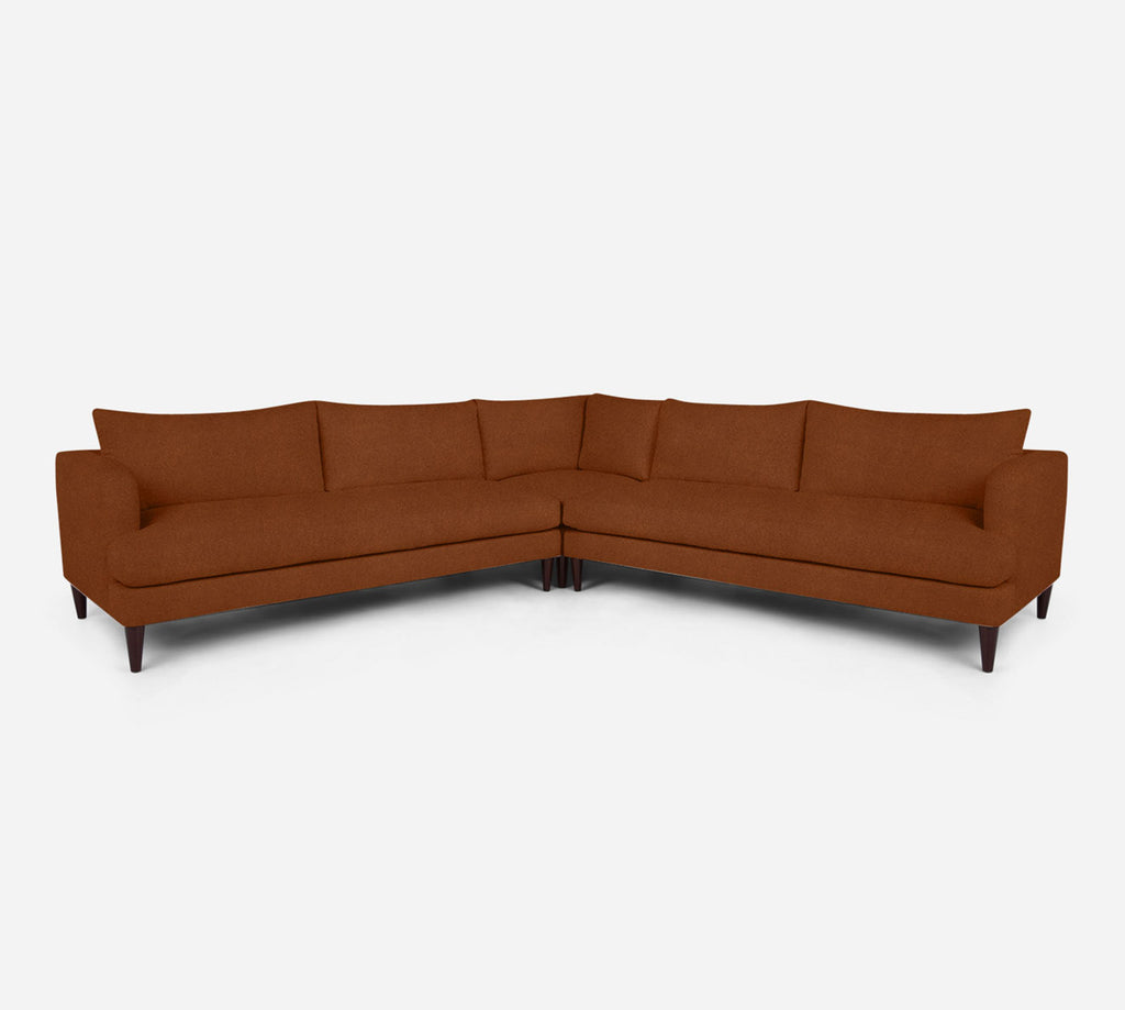 Cybil Large Corner Sectional - Passion Suede - Rust
