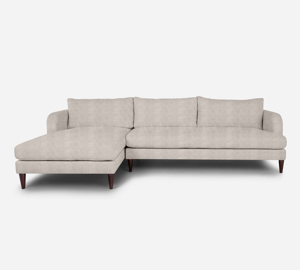 Cybil RAF Sectional Sofa w/ Chaise - Passion Suede - Oyster
