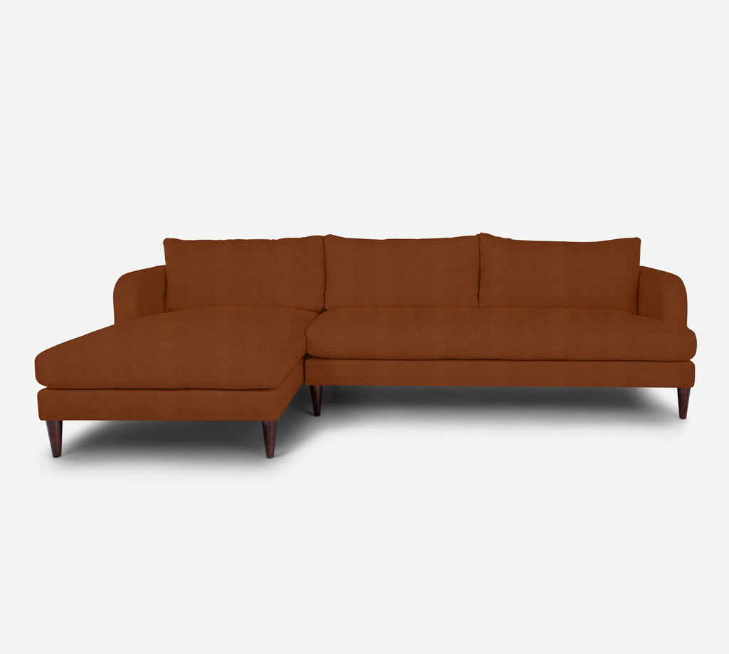 Cybil RAF Sectional Sofa w/ Chaise - Passion Suede - Rust
