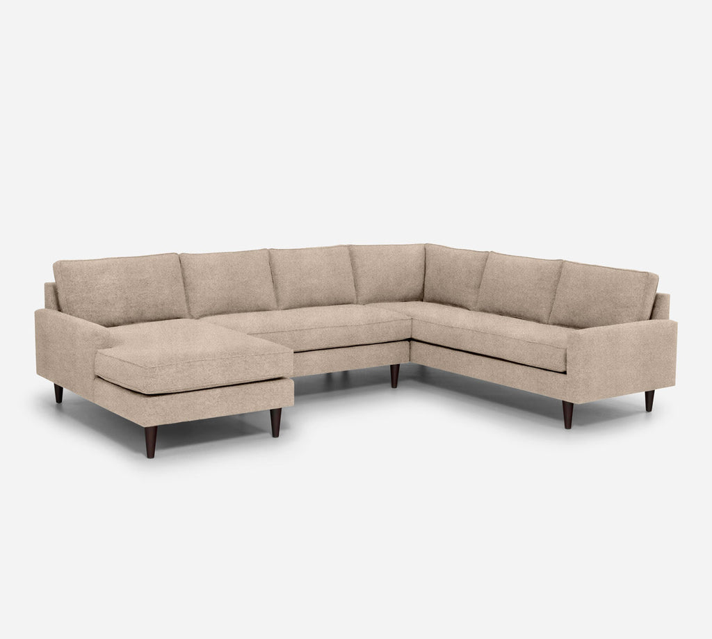 Holland LAF Chaise Corner Sectional - Passion Suede - Camel