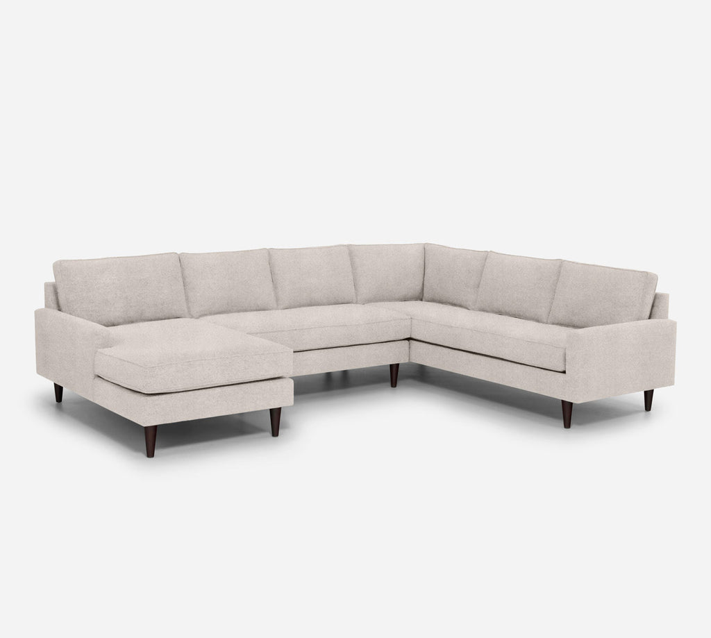 Holland LAF Chaise Corner Sectional - Passion Suede - Oyster