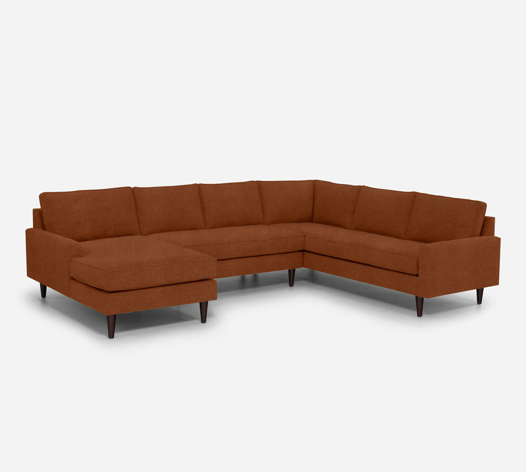Holland LAF Chaise Corner Sectional - Passion Suede - Rust