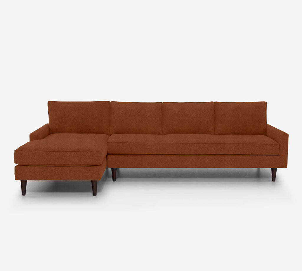 Holland LAF Chaise Sectional - Passion Suede - Rust