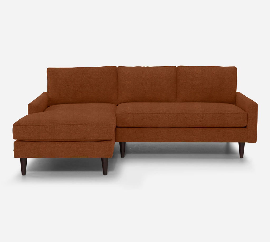 Holland Sectional Apartment Sofa w/ LAF Chaise - Passion Suede - Rust