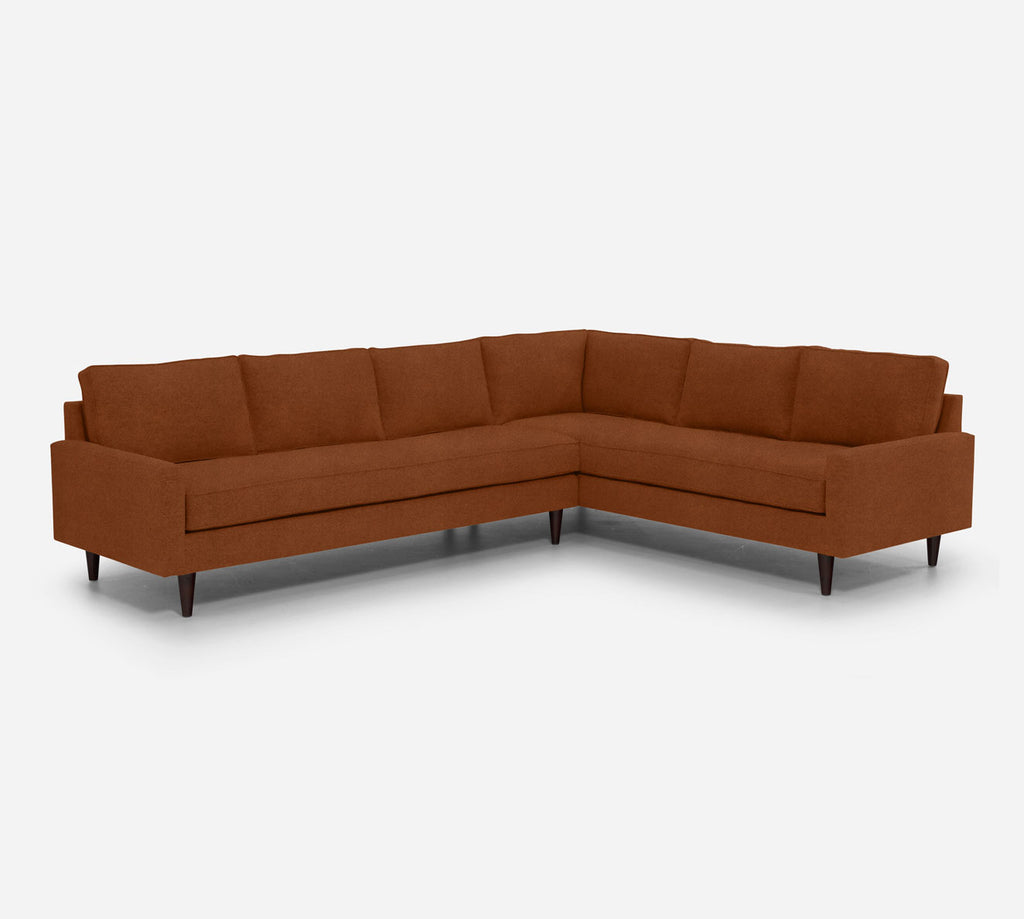 Holland LAF Large Corner Sectional - Passion Suede - Rust