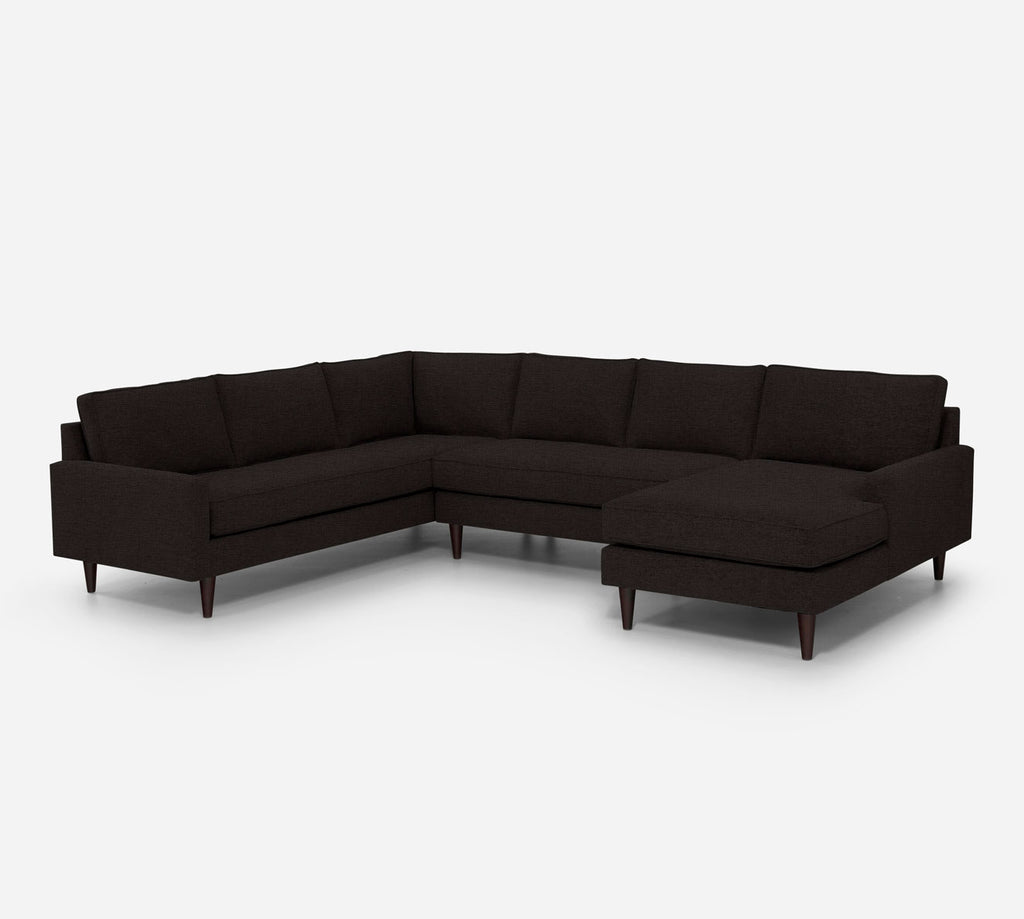 Holland RAF Chaise Corner Sectional - Coastal - Espresso