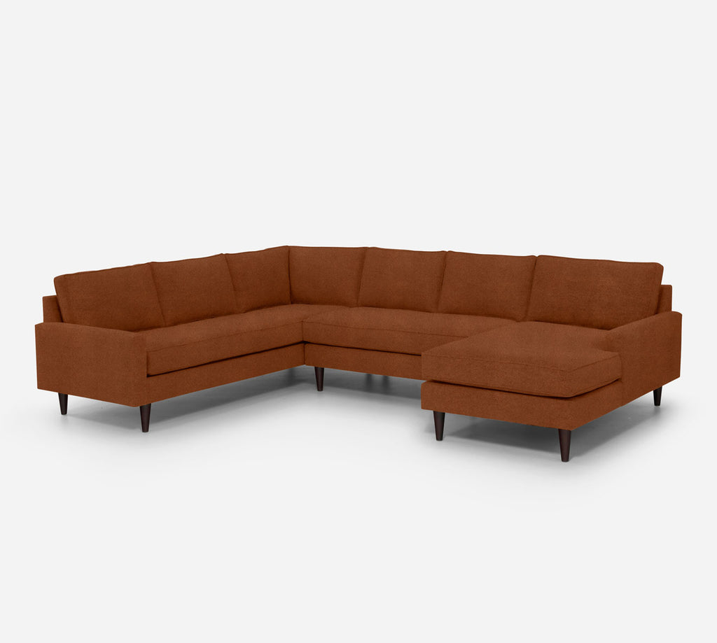 Holland RAF Chaise Corner Sectional - Passion Suede - Rust