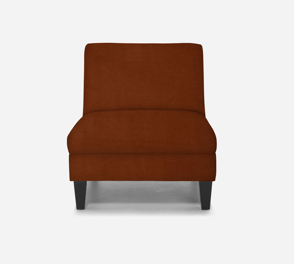 Kennedy Armless Accent Chair - Modern Velvet - TOBACCO