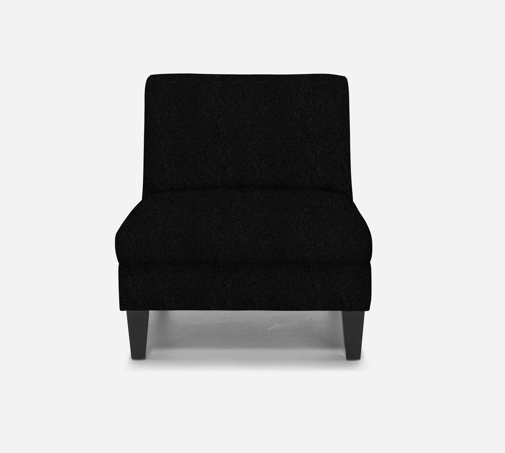 Kennedy Armless Accent Chair - Sheepskin - BLACK