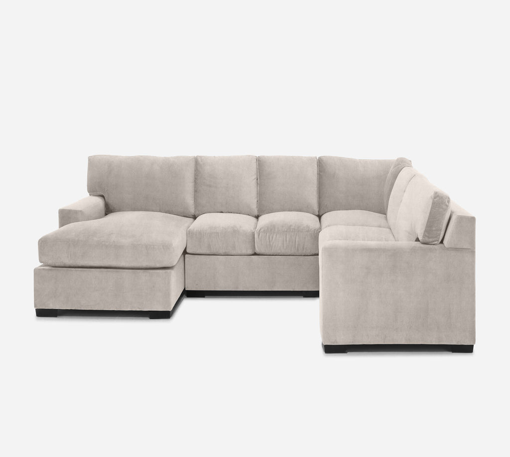 Kyle LAF Chaise Corner Sectional - Passion Suede - Oyster