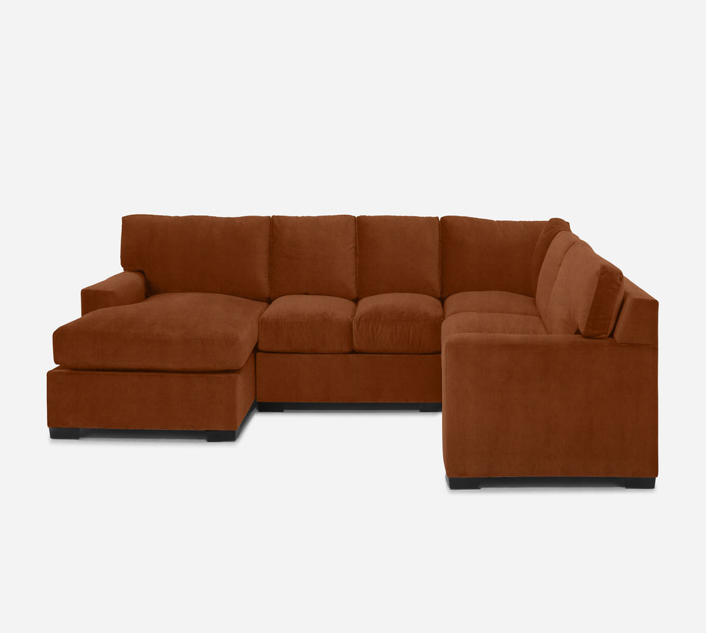 Kyle LAF Chaise Corner Sectional - Passion Suede - Rust