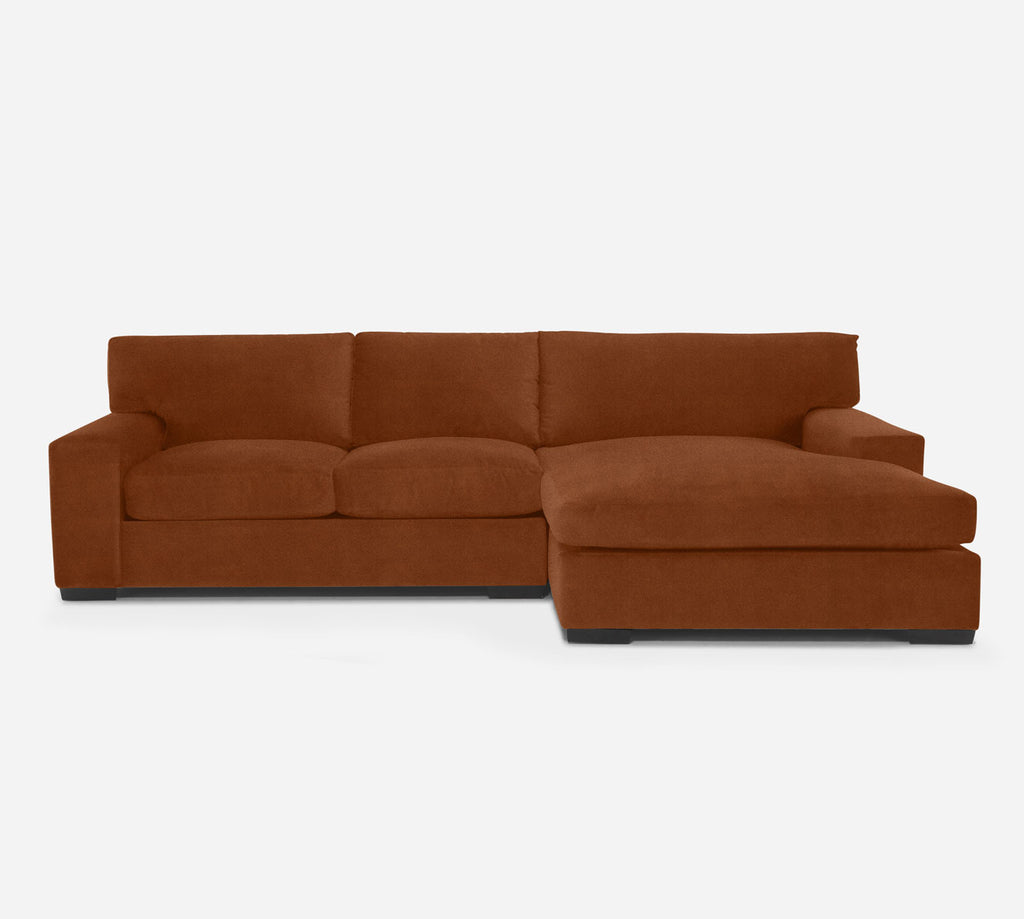 Kyle LAF Sectional Apt Sofa w/ Chaise - Passion Suede - Rust