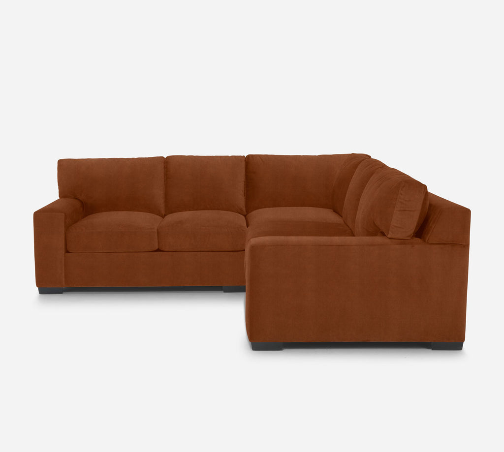 Kyle Corner Sectional - Passion Suede - Rust