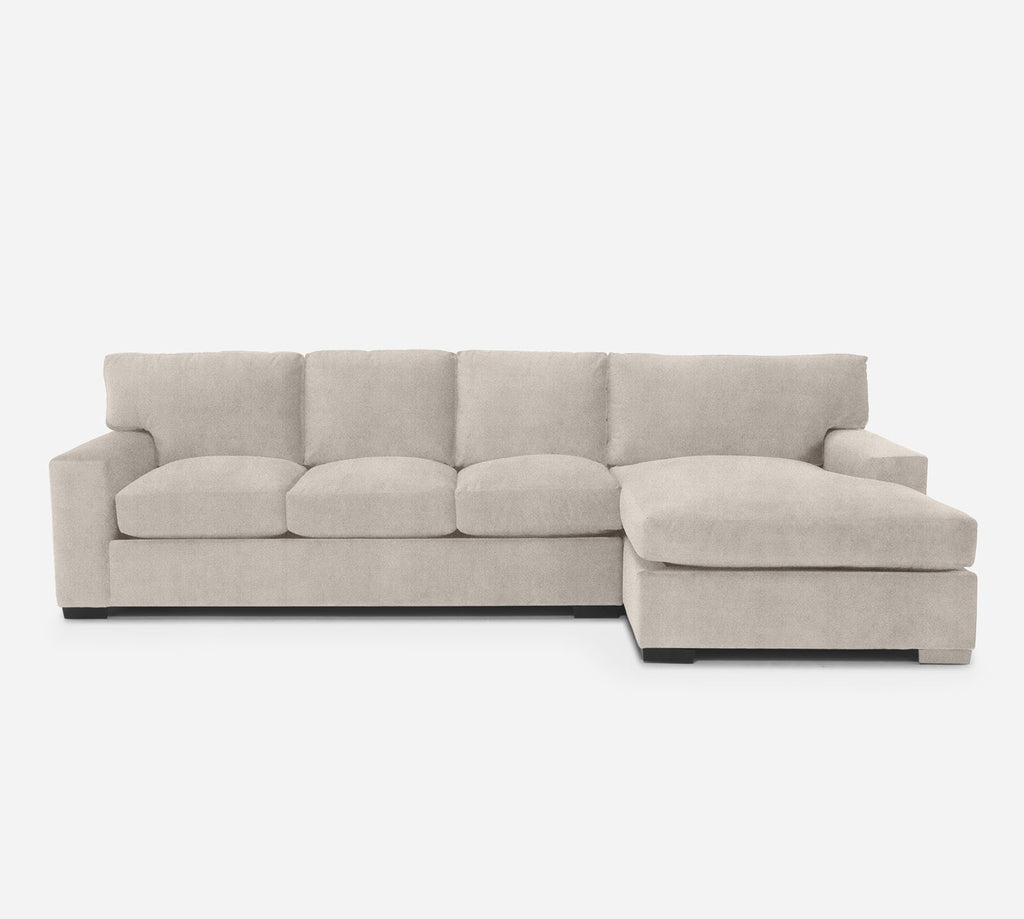 Kyle LAF Sectional Sofa w/ Chaise - Passion Suede - Oyster