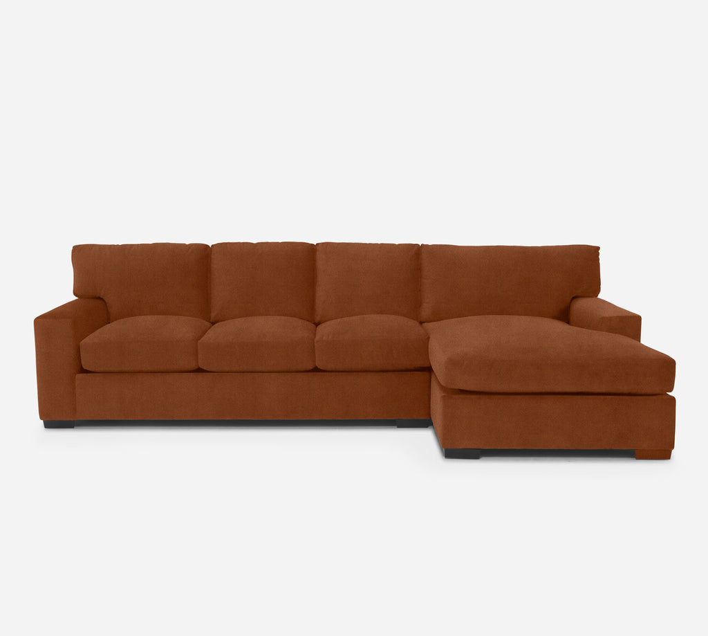 Kyle LAF Sectional Sofa w/ Chaise - Passion Suede - Rust
