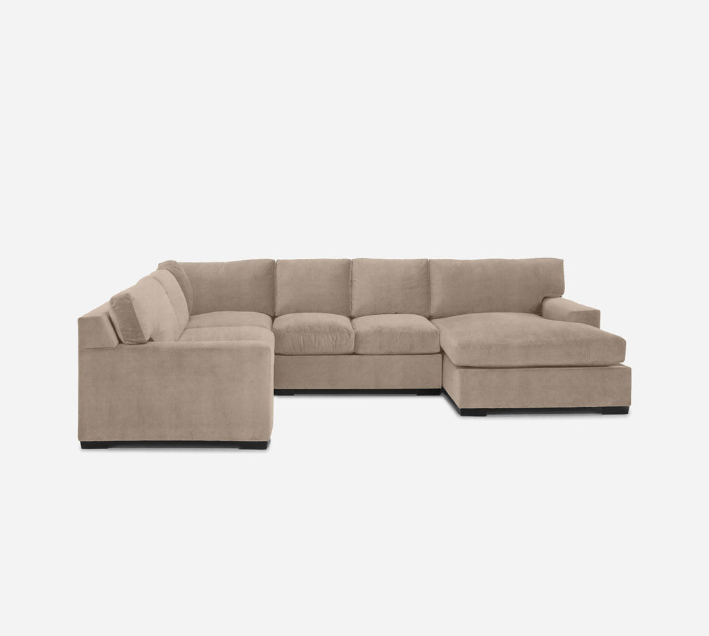 Kyle RAF Chaise Corner Sectional - Passion Suede - Camel