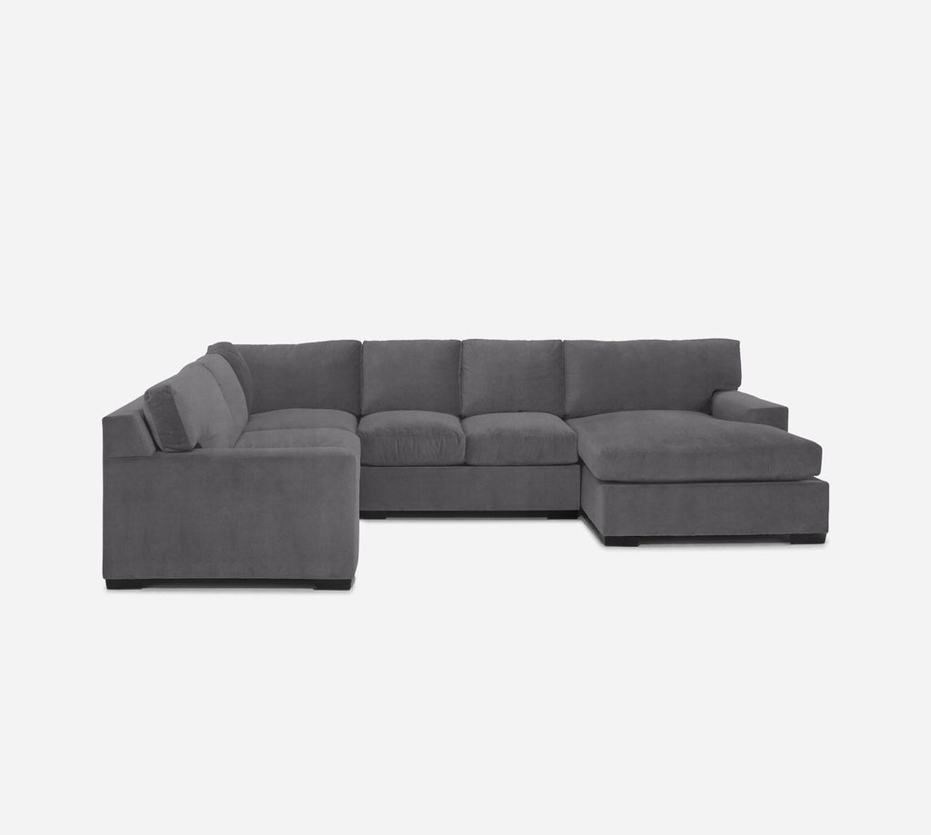 Kyle RAF Chaise Corner Sectional - Passion Suede - Charcoal